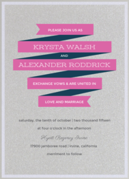Banner Year Wedding Invitation