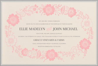 Ring of Flowers Wedding Invitation