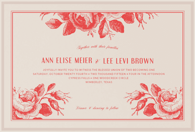 Etched Roses Wedding Invitation