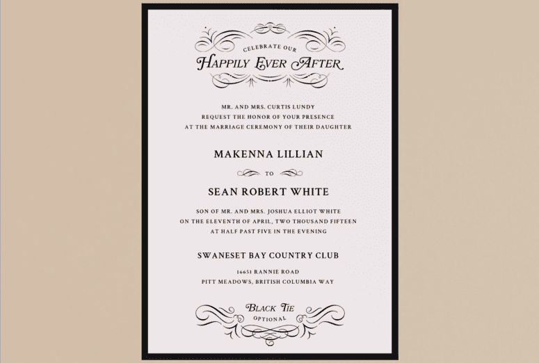 Once Upon a Time Wedding Invitation