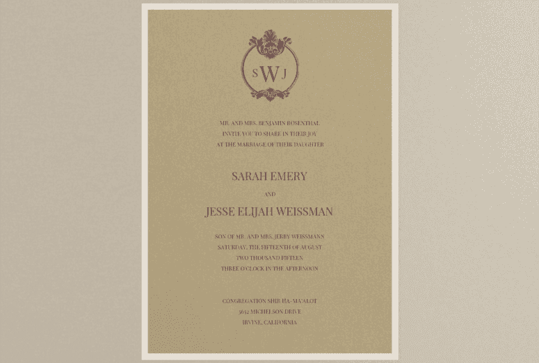 Family Crest Wedding Invitation