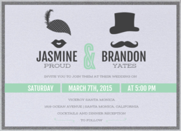 Lips & Stache Wedding Invitation