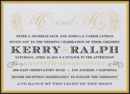 Mr. & Mrs. Glitz Wedding Invitation
