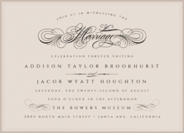 Flourished Script Wedding Invitation