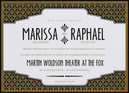 Old Hollywood Wedding Invitation