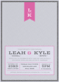 Hang Tag Chevron Wedding Invitation