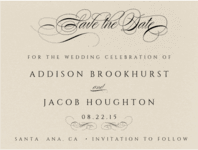 Flourished Script Save The Date Wedding Invitation