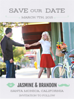 Lips & Stache Save The Date Wedding Invitation
