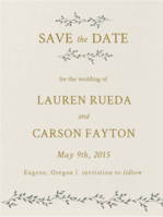 Dancing Ivy Save The Date Wedding Invitation