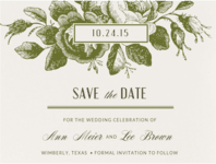 Etched Roses Save The Date Wedding Invitation