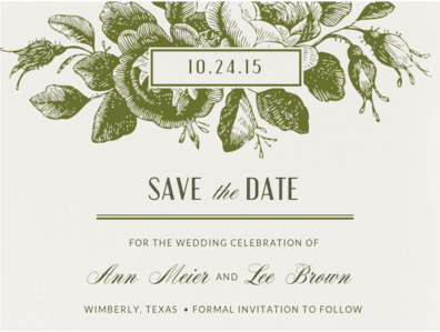 Etched Roses Save The Date Save the Date