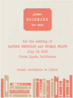 Library Love Save The Date Wedding Invitation