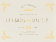 Heart Sprigs Save The Date  Wedding Invitation