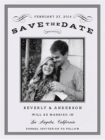 Scrolls & Stripes Save the Date Wedding Invitation