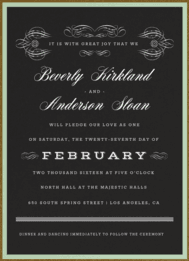 Scrolls & Stripes Wedding Invitation