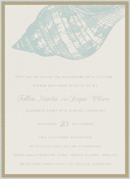 Etched Sea Shells Wedding Invitation