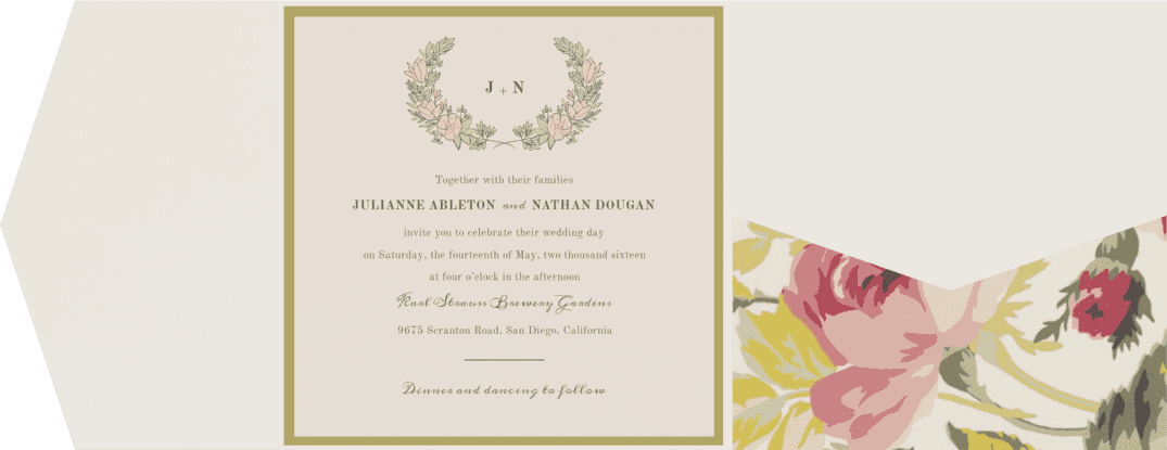 Flower Crown Wedding Invitation