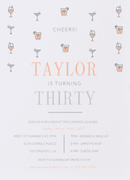 Thirty Martini Wedding Invitation
