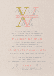 Roman Numeral Q Wedding Invitation