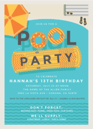 Too Cool Pool Party Wedding Invitation