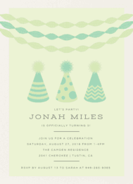 Party Hats & Streamers Wedding Invitation