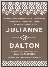 Native Print Wedding Invitation