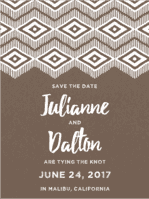 Native Print Save The Date Wedding Invitation