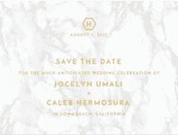 Contemporary Marble Save The Date Wedding Invitation