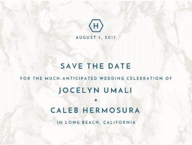 Contemporary Marble Save The Date Save the Date