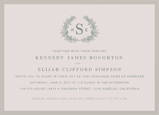 Monogram Wreath Wedding Invitation